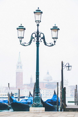 ITA11692AW Venice, Veneto, Italy.  Waterfront of Riva degli Schiavoni on a misty morning.