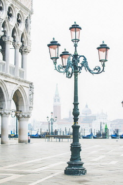 ITA11693AW Venice, Veneto, Italy. Piazzetta San Marco and the waterfront on a misty morning.