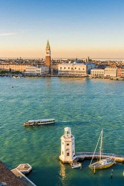 ITA11748AW Venice, Veneto, Italy. San Giorgio Maggiore lighthouse and St Mark's Campanile.