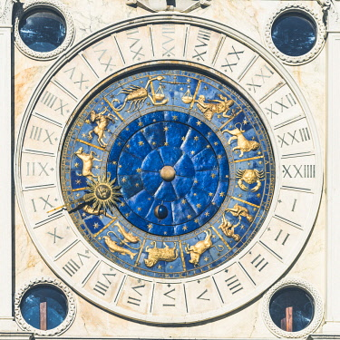 ITA11835AW Astronomical Clock in the Clock Tower, St Mark's Square, Venice, Veneto, Italy.