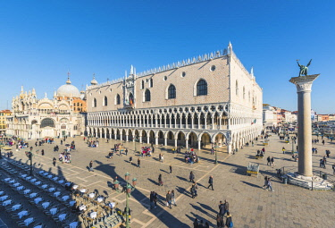 ITA11851AW Venice, Veneto, Italy. High angle view over Piazzetta San Marco and Doge's Palace.