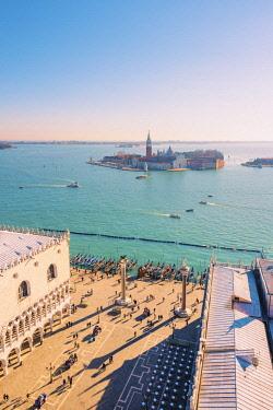 ITA11859AW Venice, Veneto, Italy. High angle view over Piazzetta San Marco and San Giorgio Maggiore.