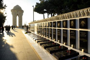 HMS2193852 Azerbaijan, Baku, Martyrs' Lane (Alley of Martyrs), memorial and tombs of those killed by the soviet army during Black January on 20-01-1990 and later those killed in Nagorno-Karabakh war, 25th Martyr...