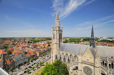 HMS2259966 Belgium, West Flanders, Ypres or Ieper, Saint Martin Cathedral view from the belfry of the Cloth Hall