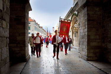 HMS3118312 Croatia, Dalmatia, Dalmatian coast, Dubrovnik, historic center listed as World Heritage by UNESCO, Saint Blaise festivities on February 3rd
