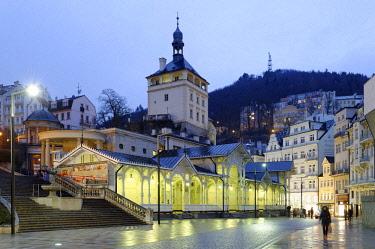 HMS3028544 Czech republic, west Bohemia, historic old town of Karlsbad, Karlovy Vary, Trzni Kolonada (Market Colonnade) dating back from 1883