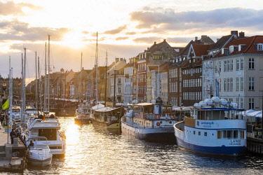 HMS3157231 Denmark, Zealand, Copenhagen, Nyhavn (new harbour), colourful facades of the Nyhavn wharf