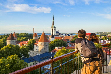 HMS2869299 Estonia (Baltic States), Harju region, Tallinn, historical center listed as World Heritage by UNESCO, Patkuli Belvedere on Toompea Hill, overlooking the bell tower of the Church of St. Olaf (Oleviste...
