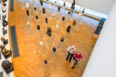 HMS2869341 Estonia (Baltic States), Harju region, Tallinn, Kumu, Estonian art museum, work of Finnish architect Pekka Vapaavuori, sculpture exhibition, Villu Jaanisoo's Heads