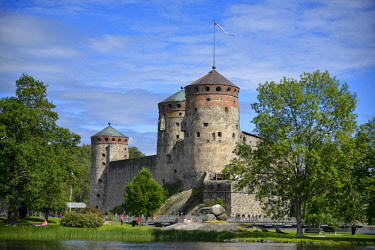 HMS2402693 Finland, province of oriental Finland, Olavinlinna Fortress of the 15th century, most northern medieval castle of the planet