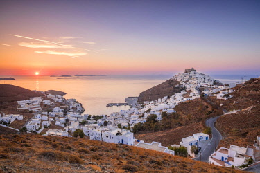 HMS2954094 Greece, Dodecanese archipelago, Astypalaia island, Chora, capitale of the island, dominated by the venitian citadel or Querini castle and Pera Gialos, former harbour