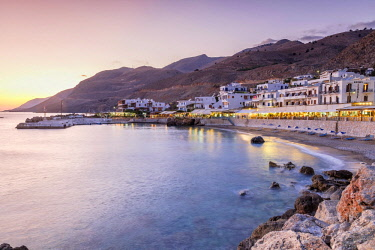 HMS2882824 Greece, Crete, Hora Sfakion or Sfakia at dusk