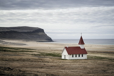 HMS3089568 Iceland, Westfjords, Vestfirdir region, church of Breidavik