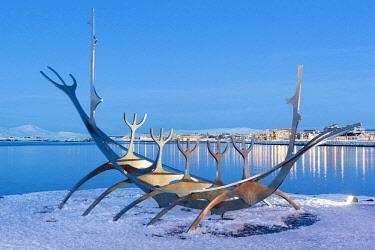 HMS3131922 Iceland, Capital Region, Reykjavik, Solfar (Sun Voyager), sculpture representing a Viking longboat by Jon Gunnar Arnason