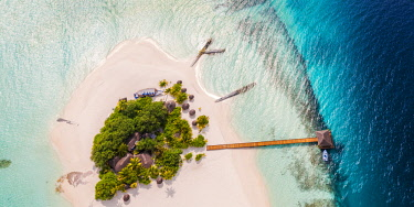 MIV0399AW Aerial drone view of a tropical island, Maldives