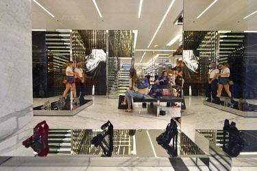 HMS3059461 Italy, Lombardy, Milan, Fashion Quadrilateral, Via della Spiga, Saint-Laurent Store