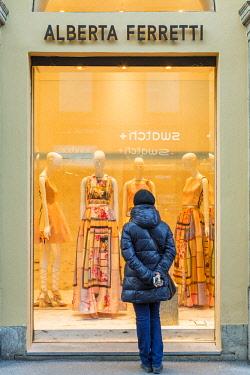 HMS2189996 Italy, Lombardy, Milan, Fashion Quadrilateral, Via Monte Napoleone, front of the shop of the Italian designer Alberta Ferretti fashion