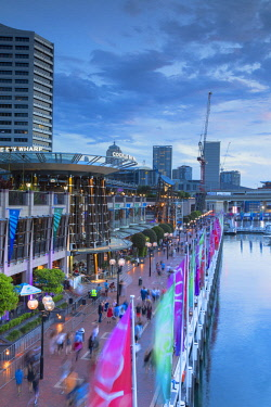 AUS2863AW Cockle Bay Wharf at dusk, Darling Harbour, Sydney, New South Wales, Australia