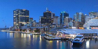 AUS2871AW Barangaroo and Darling Harbour at dusk, Sydney, New South Wales, Australia