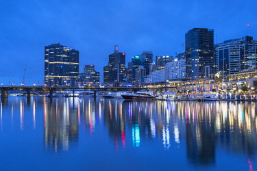 AUS2888AW Darling Harbour at dusk, Sydney, New South Wales, Australia