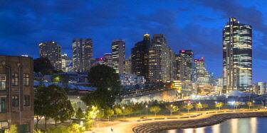 AUS2900AW Barangaroo skyline at dusk, Sydney, New South Wales, Australia