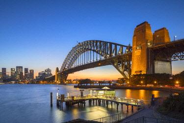 AUS3037AW Sydney Harbour Bridge at sunset, Sydney, New South Wales, Australia
