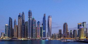 UAE0487AW Dubai Marina at twilight, Dubai, United Arab Emirates
