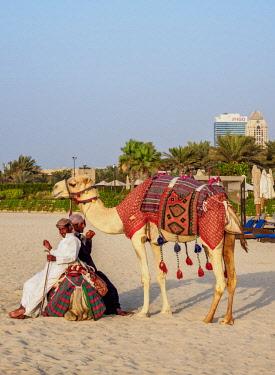 UAE0567AW Camel Ride on the Dubai Marina JBR Beach, Dubai, United Arab Emirates