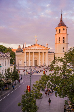 Lithuania (Baltic States), Vilnius, historical center listed as World Heritage by UNESCO, Gedimino's avenue with a view of the clock tower in front of Saint Stanislaus Cathedral, Katedros Aikste
