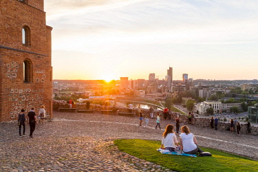 Lithuania (Baltic States), Vilnius, historical center, listed as World Heritage by UNESCO, view of the Gediminas hill and the fort at sunset