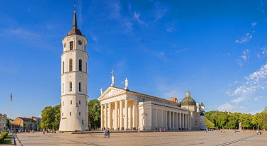 Lithuania (Baltic States), Vilnius, historical center, listed as World Heritage by UNESCO, clock tower facing St. Stanislaus Cathedral, Katedros Aikste and Gediminas tower of the upper castle