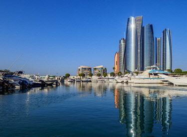 UAE0710AWRF Skyline with Marina and Etihad Towers, Abu Dhabi, United Arab Emirates