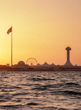 UAE0629AW View towards Marina Mall at sunset, Abu Dhabi, United Arab Emirates
