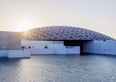 UAE0651AW Louvre Museum at sunset, Abu Dhabi, United Arab Emirates