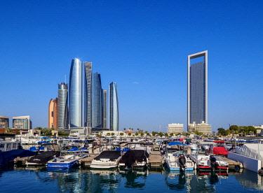 UAE0662AW Skyline with Marina and Etihad Towers, Abu Dhabi, United Arab Emirates