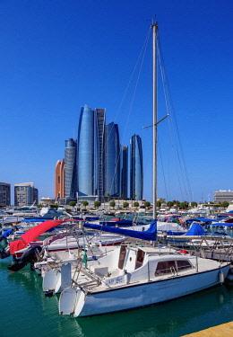 UAE0665AW Skyline with Marina and Etihad Towers, Abu Dhabi, United Arab Emirates