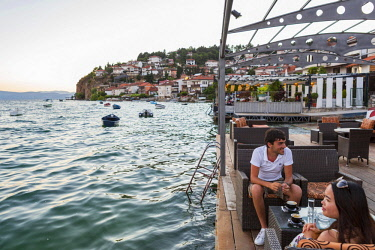 HMS1997213 Republic of Macedonia, Ohrid, listed as World Heritage by UNESCO Site, sidewalk cafe downtown lakefront