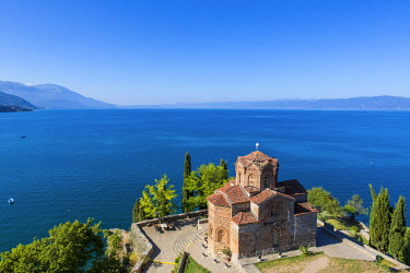 HMS1997255 Republic of Macedonia, Lake Ohrid, listed as World Heritage by UNESCO Site, the Church of St John of Kaneo Byzantine style of the XIIIth century