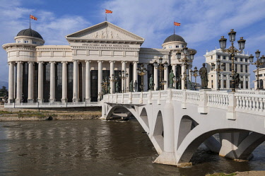 HMS2232818 Macedonia, Skopje, downtown, new Civilisation Bridge and Macedonian Archeologilal Museum building