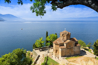 HMS2236932 Republic of Macedonia, Lake Ohrid, listed as World Heritage by UNESCO Site, the Church of St John of Kaneo Byzantine style of the XIIIth century