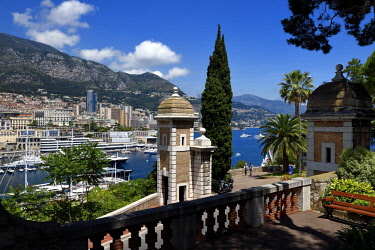 HMS2088733 Principality of Monaco, Monaco, the Porte Neuve at the forefront of the Rock
