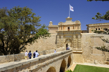 HMS3119720 Malta, Mdina former capital, Mdina Gate main entrance of the city designed by the French architect Charles François de Mondion in 1724,