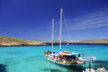 HMS3119750 Malta, Comino Island, Comino, Blue lagoon, boats mooredin the lagoon