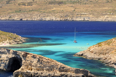 HMS3119755 Malta, Comino Island, Comino, Blue lagoon, boat moored in the lagoon