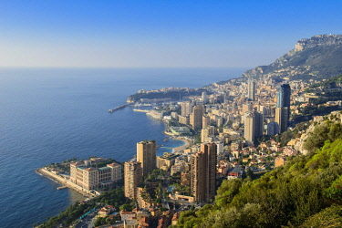 HMS2186576 Principality of Monaco, view over Monaco from the Grande Corniche road