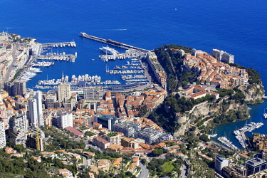 HMS2256108 Monaco, The Rock, The Port Hercule and right Fontvieille harbor