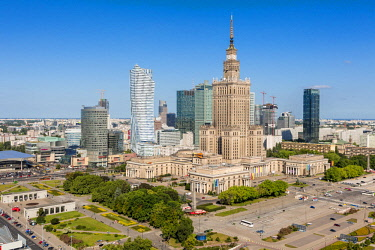 HMS2235841 Poland, Mazovia region, Warsaw financial center and Palace of Culture and Sciences