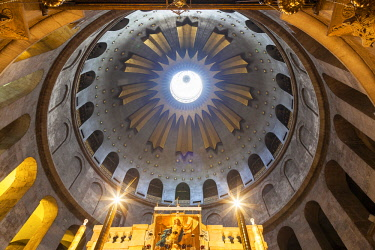 Israel, Jerusalem. The central and main dome of the Church of the Holy Sepulchre on the place where the Holy sepulchre or the aedicula believed to be the place where Jesus Christ s tomb is.
