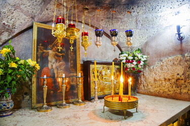 ISR0293 Israel, Jerusalem. The altar inside the chapel of what is believed to be the tomb of St Mary at the Church of Assumption a very important shrine for Catholics. The church is under the jurisdiction of...