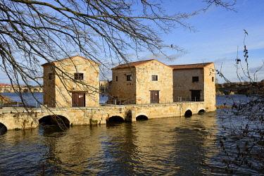 SPA7471AW The watermills of Zamora along the Douro river. Castilla y Leon, Spain